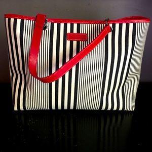 Longchamp canvas striped tote